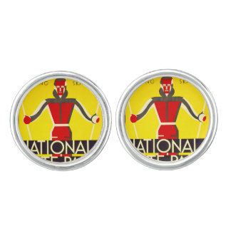 National and state parks, skiing - Dorothy Waugh Cufflinks