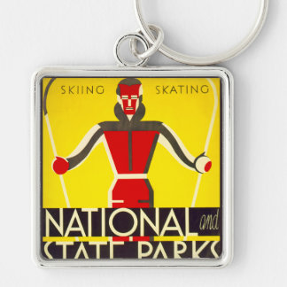 National and state parks, skiing - Dorothy Waugh Key Ring