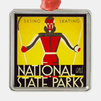 National and state parks, skiing - Dorothy Waugh Metal Ornament