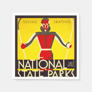 National and state parks, skiing - Dorothy Waugh Paper Napkin