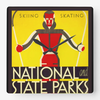 National and state parks, skiing - Dorothy Waugh Square Wall Clock