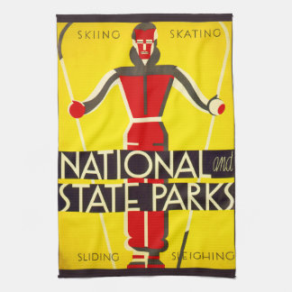 National and state parks, skiing - Dorothy Waugh Tea Towel