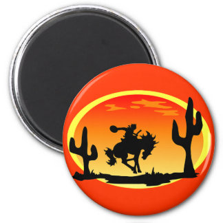 National Day of the Cowboy Bronco Silhouette 6 Cm Round Magnet