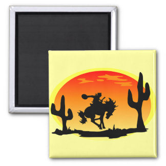 National Day of the Cowboy Bronco Silhouette Square Magnet