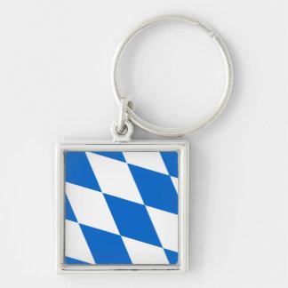 National flag Bavaria Silver-Colored Square Key Ring