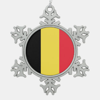 National Flag of Belgium Snowflake Pewter Christmas Ornament