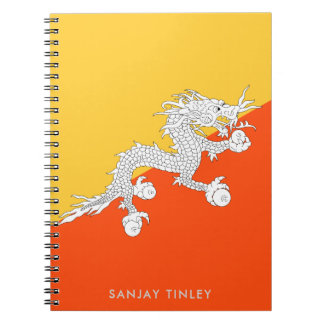 National Flag of Bhutan with Monogram Name Spiral Notebook