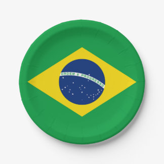 National Flag of Brazil, accurate proportion color Paper Plate