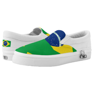 National Flag of Brazil, accurate proportion color Slip-On Shoes
