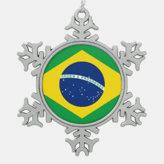 National Flag of Brazil, accurate proportion color Snowflake Pewter Christmas Ornament