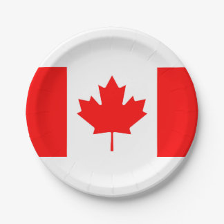 National Flag of Canada, maple leaf, high detailed Paper Plate