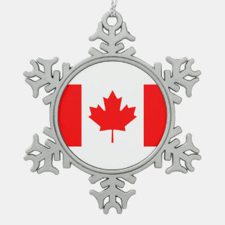 National Flag of Canada, maple leaf, high detailed Snowflake Pewter Christmas Ornament