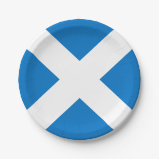 National Flag of Scotland Saint Andrew's Cross Paper Plate