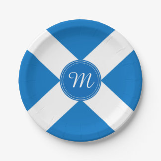 National Flag of Scotland St Andrew's Cross Custom Paper Plate