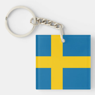 National Flag of Sweden Double-Sided Square Acrylic Key Ring