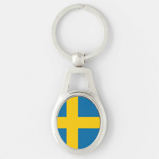 National Flag of Sweden Silver-Colored Oval Key Ring