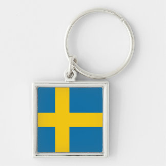 National Flag of Sweden Silver-Colored Square Key Ring