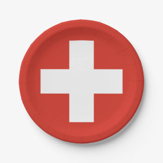 National Flag of Switzerland Paper Plate