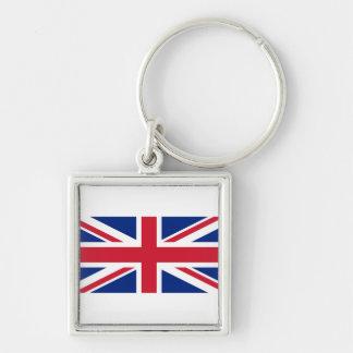 National Flag of the United Kingdom UK, Union Jack Silver-Colored Square Key Ring