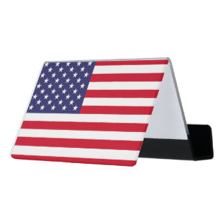 National Flag of the United States of America Desk Business Card Holder