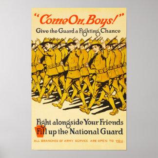 National Guard Come On Boys WWI Propaganda Poster