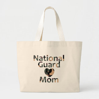 National Guard Mom Heart Camo Large Tote Bag