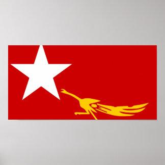 National League For Democracy, Myanmar flag Print