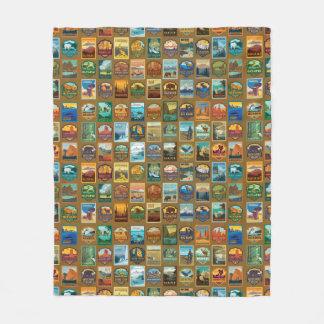 National Parks Pattern Fleece Blanket