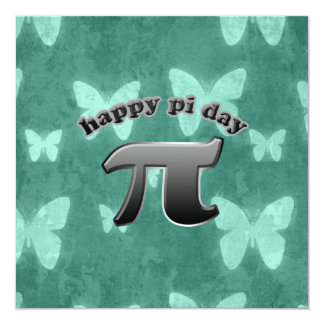 National Pi Day Pi Symbol for Math Nerds March 14 5.25x5.25 Square Paper Invitation Card