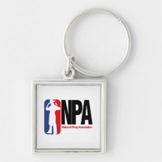 National Pimp Association Silver-Colored Square Key Ring