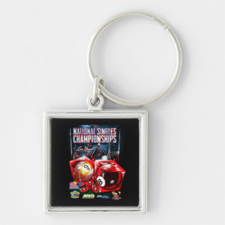 National Singles Championships - Dice Design Silver-Colored Square Key Ring