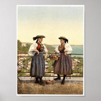 National Vierlander costume, Hamburg, Germany magn Print