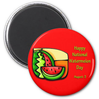 National Watermelon Day August 3 6 Cm Round Magnet