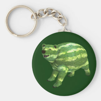 National Watermelon Day Bear Basic Round Button Key Ring