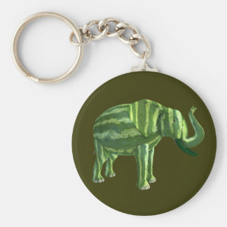 National Watermelon Day Elephant Basic Round Button Key Ring