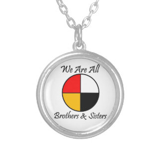 Native American 4 Directions gear Silver Plated Necklace