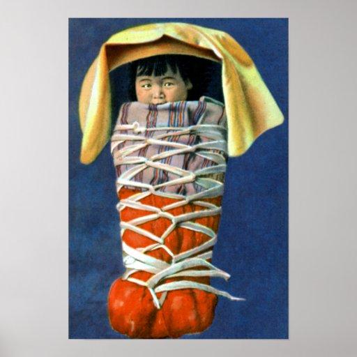 Native American Baby in Cradleboard Print