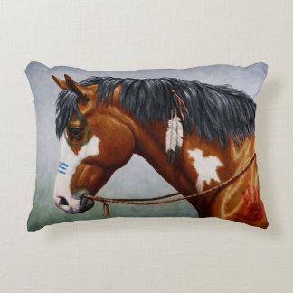 Native American Bay Pinto War Horse Decorative Cushion