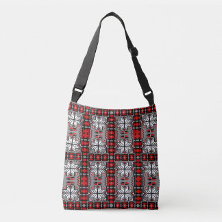Native American Blanket Pattern Red Gray Black Crossbody Bag