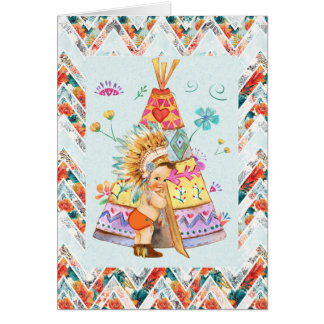 Native American Boy's First Birthday Card