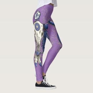 Native American BULL SKULL blue Leggings