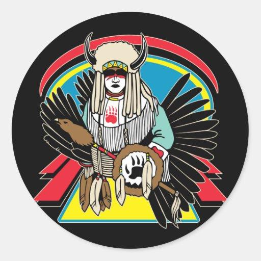 Native American Ceremony Round Stickers