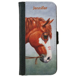 Native American Chestnut Pinto War Horse iPhone 6 Wallet Case