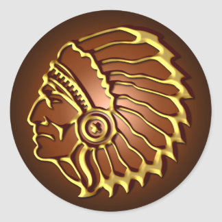 NATIVE AMERICAN CHIEF CLASSIC ROUND STICKER