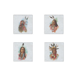 Native American Chiefs Stone Magnet