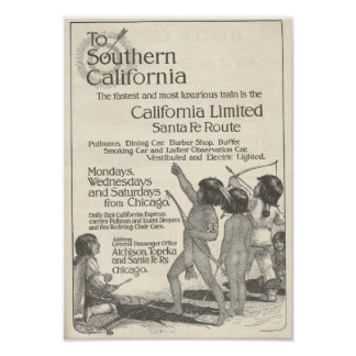 Native American Children 1916 Ad California Poster