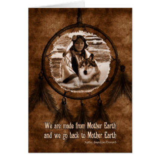 Native American Day Wolf and Dreamcatcher Greeting Card