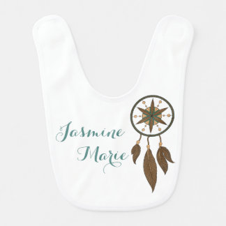 Native American Dream Catcher Feathers Custom Name Bib