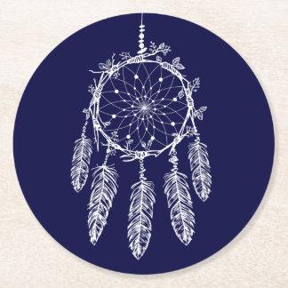 Native American Dream Catcher Navy Blue Wedding Round Paper Coaster