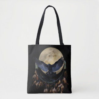Native American Dream Catcher, Raven and Wolf Tote